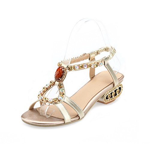 Amoonyfashion Donna Open-toe Tacchi Bassi Materiale Morbido Sandali Con Fibbia In Oro Massiccio
