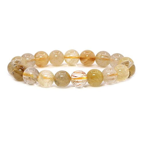 Pictures Natural Gold (Natural Gold Rutilated Quartz Gemstone 10mm Round Beads Stretch Bracelet 7