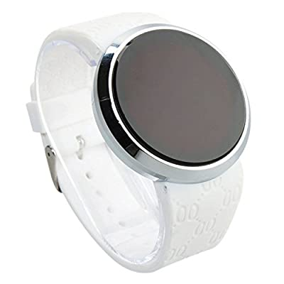 COCOTINA New Men LED Touch Screen Circular Pattern Day Date Sport Wrist Watch (White)