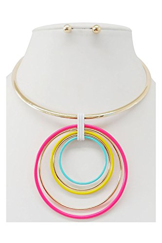 - Women Wire Choker With Multi Colored Hoop Pendant Fashion Necklace MS7554 (Multi)