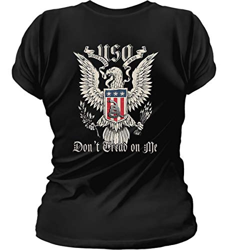 Don't Tread on Me. Eagle with Shield and RATT Womens Black/MED T-Shirt