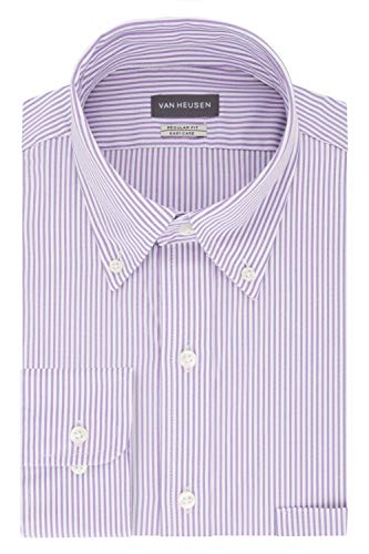Van Heusen Men's Pinpoint Regular Fit Stripe Button Down Collar Dress Shirt, Wild Orchid, 16.5