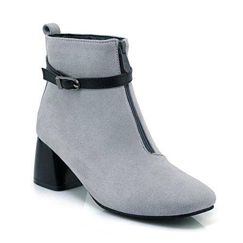 BalaMasa Womens Buckle Zip Square-Toe Ankle-High Suede Boots ABL10525 Gray GJ75boHu5G