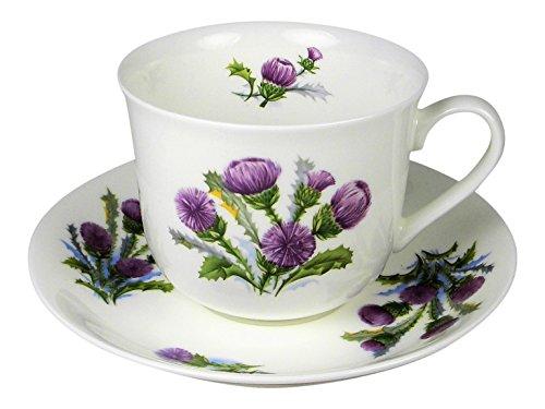 Adderley Breakfast Tea Cup and Saucer Set Fine Bone China Scottish Thistle England