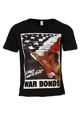 Eron Apparel Men's Retro Propaganda Poster War Bonds Vintage Scoop Neck T Shirt Black M