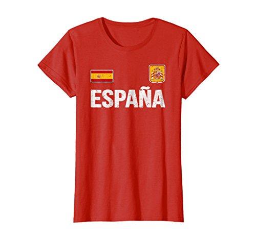 4d2471aaf Womens Spain T-shirt Espana Spanish Flag Soccer Football Fan Jersey Small  Red