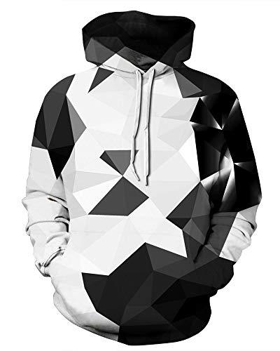 GLUDEAR Unisex Harajuku 3D Galaxy Print Long Sleeve Pullover Hoodie Hooded Sweatshirt,Geometric,L/XL -