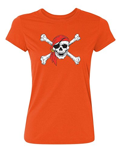 P&B Pirate Skull Crossbones Women's T-Shirt, S, Orange