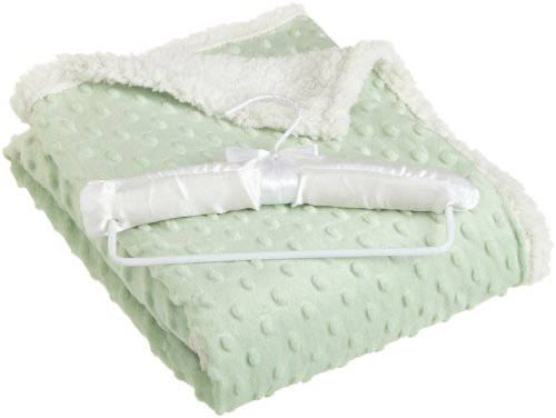 Northpoint Beau Bebe Giggle Sherpa Baby Blanket, 30 by 40-Inch, Light Green