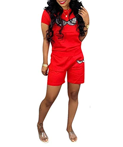 LETSVDO Women 2 Piece Outfits Solid Color Short Sleeve and Shorts Sports Suit Jumpsuit Plus Size