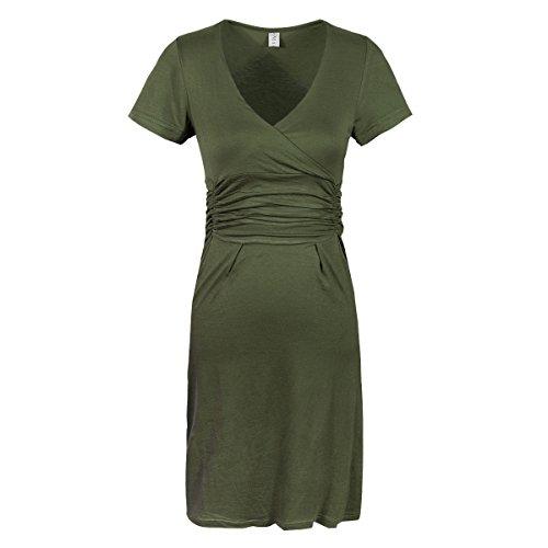 Gritu Women's Sexy V-Neck Short Sleeve Fit Stretch Slim Bodycon Pregnant Dress Army-Green Medium