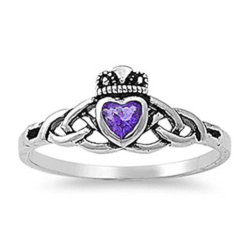 Celtic Claddagh Amethyst Ring Heart (Blue Apple Co. 925 Sterling Silver Claddagh Ring Heart Shape Bezel Set Simulated Amethyst Celtic Knot Ring,Size-7)