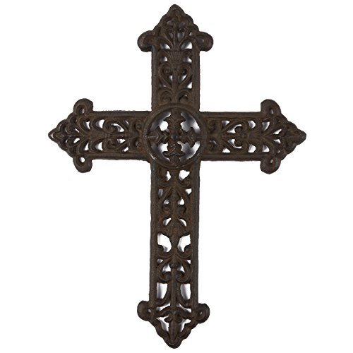 Juvale Wrought Iron Cross Decoration - Rustic Celtic Cross, Metal Cross for Christian and Religious Art Lovers, Dark Bronze, 15 x 11.3 x 0.5 Inches ()