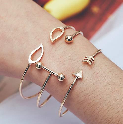 Hemau Lot Pcs Set Women Bracelet Adjustable Bangle Chain Boho Party Jewelry Chic Gifts | Model BRCLT - 18951 | Style39-3Pcs/Set Gold Arrow Le. ()