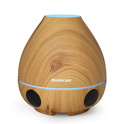 Bluetooth Speaker/Essential Oil Diffuser 300ml /Night Light/Mini Humidifier 4 in 1-Rich Bass with Dual Loud Speakers,V4.0 Wireless, Auto Shut Off-for Home, Kids Room, Bedroom, Shower By Aromacare