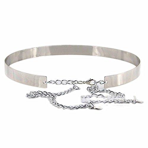 HP95(TM) Women Punk Mirror Metal Waist Belt (Silver)