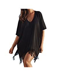 Womens Summer Swimsuit Kaftan Tassels Swimwear Cover Beach Dress