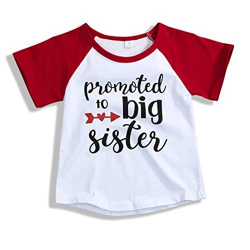 Willow Dance 2019 Baby Girl Clothes Big Sister Letter Print Short Sleeve T-Shirt Top Blouse Shirts Red ()