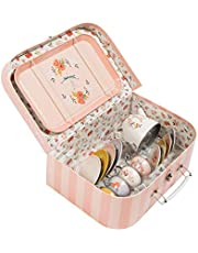 Les Parisiennes Tin Tea Set Suitcase, Pink