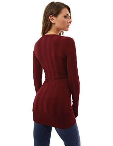 PattyBoutik Mujer v túnica tejer la parte superior del cuello de canalé borgoña