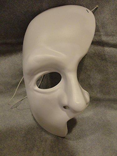 Phantom of the Opera White Half Mask Masque Mardi Gras PVC Mask Kid Size Rubies Halloween Dress (Halloween Costumes Phantom Of The Opera)