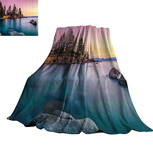 Lake House Decor Faux Fur Throw Blanket Trees on The Alley and Stones in The Lake Motivational Nature Inspired Rest Home Decor 30