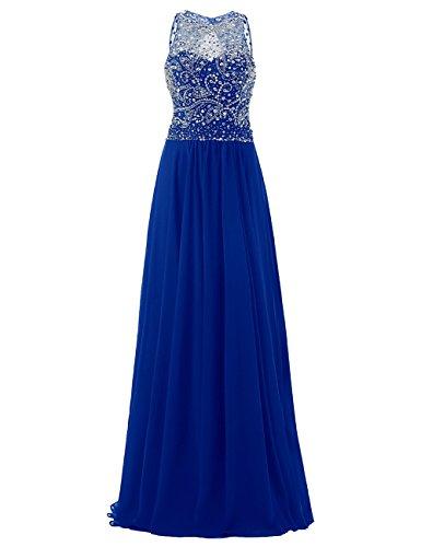 Saphir Cérémonie Emperlée Bleu Dresstells Ras Avec Robe Longueur Soirée De Sol Du Paillettes nqqFxP78w
