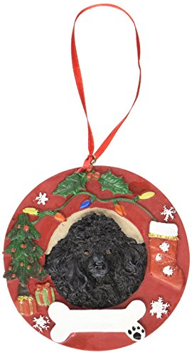 Black Poodle Ornament Personalized and Hand Painted Measures 3.75 Inches Diameter ()