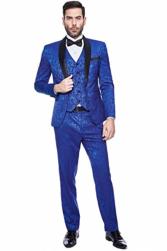 WEEN CHARM Men's 3 Pieces Suit Shawl Lapel One Button Slim Fit Jacket Vest & Pants by WEEN CHARM