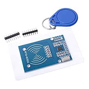 Qunqi MFRC-522 RC522 RFID RF IC Card Inductive Module + S50 White Card + Key Ring for Arduino