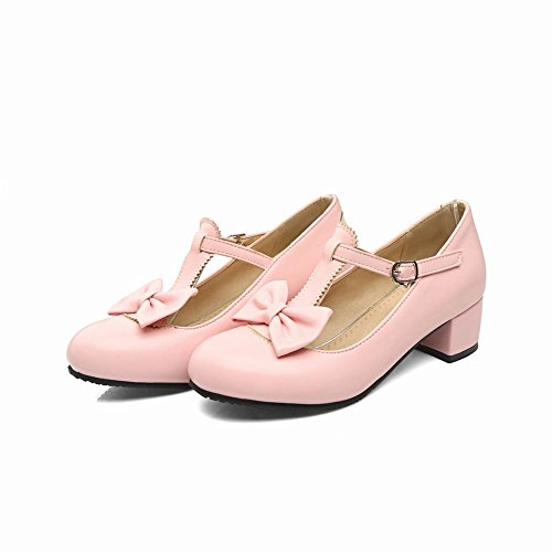 Carolbar Women's Concise Charm Bow Mid Heel T-strap Buckle Court Shoes Pink IeSJE