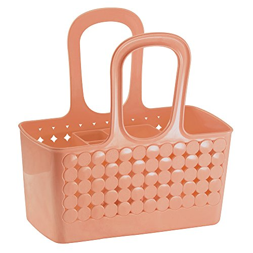 InterDesign Orbz - Shower Tote Holder and Organizer for Shampoo, Cosmetics, Beauty Products - Coral - Small/Divided: 11.75 x 6 x 12 inches