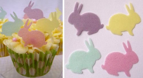 Easter Bunny Cake Decorations – Edible Wafer Bunny Cake Toppers – Spring Pastel Colours x 24 (Green + Pink + Lemon…