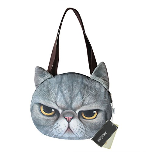 Greenery Women Girls Vivid Cute 3D Cat Head Face Handbag Leisure Shoulder Bag Lightweight Travel Bag