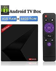 Sidiwen Android 8.1 TV BOX, X88 MAX 4GB RAM 64GB ROM RK3328 Quad-Core 64bit Cortex-A53 CPU 2.4GHz/5GHz Dual Band WiFi USB 3.0 Bluetooth 4.1 Android Smart TV Box
