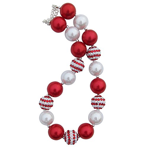 Chunky Bubblegum Beads Beaded Necklace for Little Girls, Kids, Teens, & Moms (Christmas Candy Cane Red & White) - Bubblegum Baby Costume