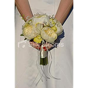 Beautiful Ivory Peony Bridal Bouquet w/ Gypsophila & Sweetpea 11