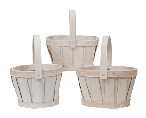 Napco Woven White Wash Basket, 6-Inch, Shapes Will Vary