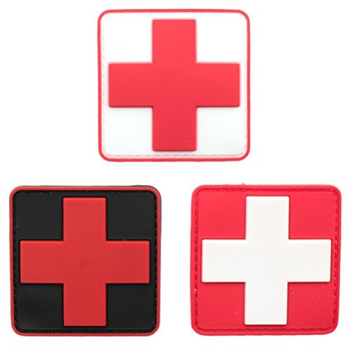 Bundle 3 Pieces - Medic Red Cross Tactical PVC Rubber
