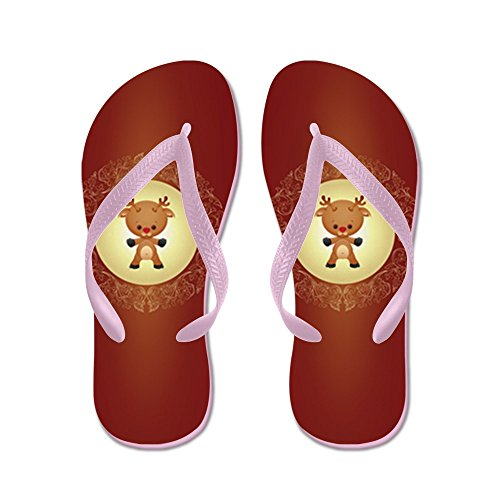 Truly Teague Mens Christmas Cuties Rudolf the Red Nose Reindeer Rubber Flip Flops Sandals Pink cLAg6H