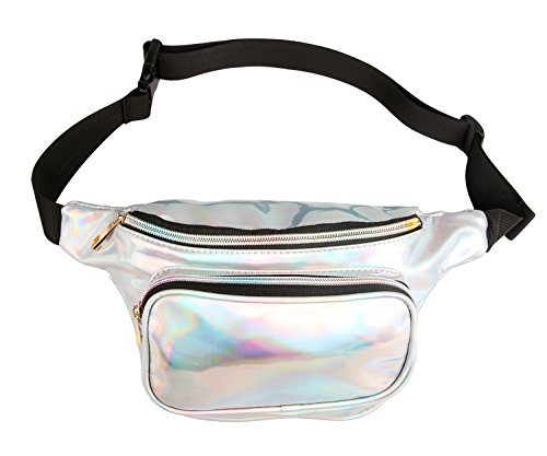 Fanny Pack Waist Bag Women Pouch Bum Holographic Iridescence Shiny for Vacation Party ()