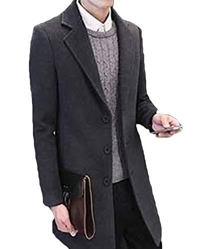 Manteau Gris Foncé Long Fit Veste coat Slim Trench Casual Homme Coupe Chaud 1vnSqP1d
