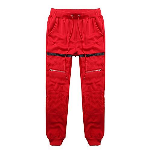 (Stylish Men Winter Sweatpants Joggers Pants Fleece Loose Fitness Warm Male Trousers Workouts Gyms Masculina Tracksuit,Red,XXL)