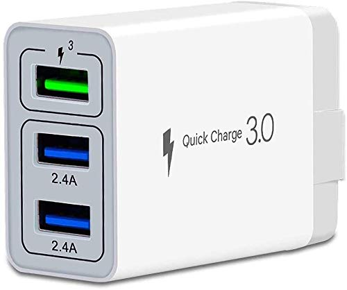 Fast Wall Charger QC 3.0 USB Quick Charge 3 Ports Tablet iPad Phone Charger Adapter Travel Plug Compatible iPhone X/Xs/XS Max/XR/8/8+/7P/7/6/5 Samsung S8/S7/S6/Edge/LG HTC