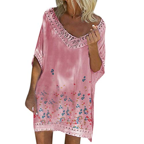 (RUIVE Women's Beachwear Cover Up Bohemia Plus Size Batwing Sleeve Shirt Dresses Summer Casual Loose Mini Sundress Pink)