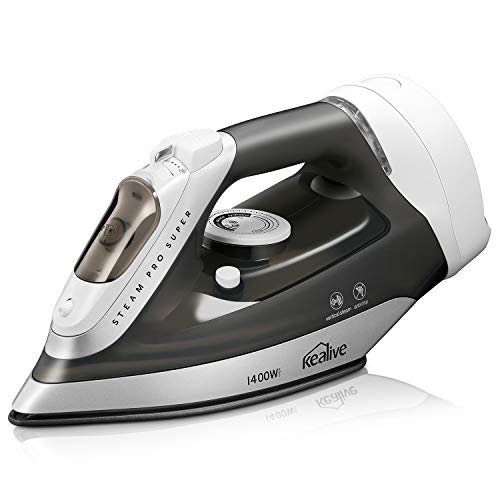 Kealive Steam Iron, 1400W Steam Master Iron with Retractable Cord and Anti-Drip Non-Stick Stainless Steel Soleplate Temperature and Steam Control, Self Clean (Best Steam Iron With Retractable Cord)