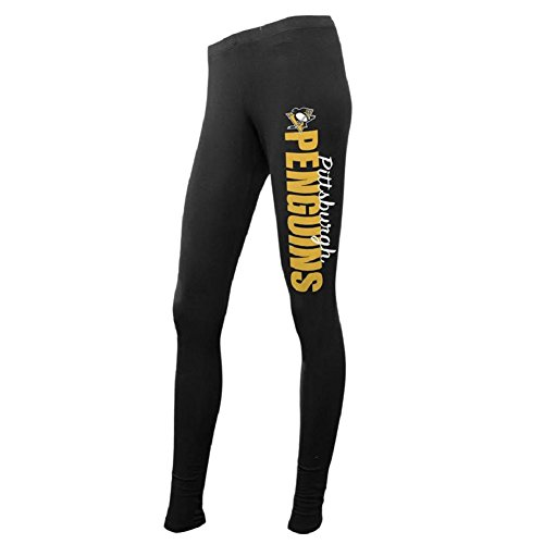 NHL Women's Team Logo Leggings-Pittsburgh Penguins-Black-XL