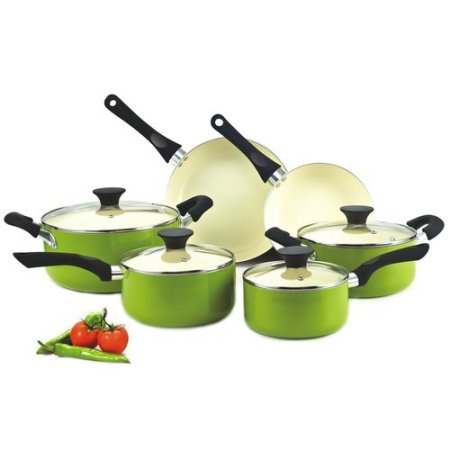 Cook N Home Nonstick 10-piece Cookware Set with Ceramic Coating, Green