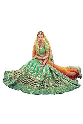 PCC Womens Green Striking Lehenga Choli With Embroidery Work 79634