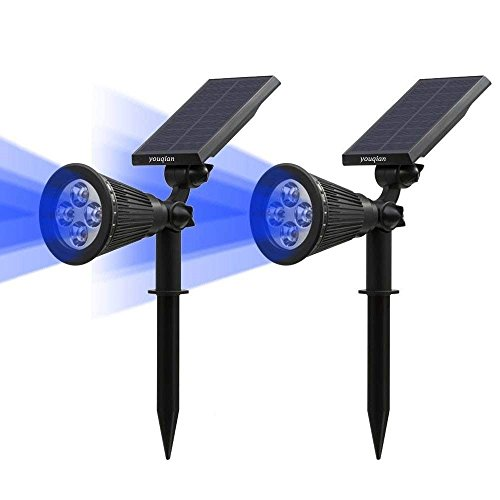 (Youqian Solar Spotlights 2-in-1 Outdoor Landscape Lighting Waterproof 4 LED Adjustable Spotlight Wall Light Auto On/Off Security Night Lights for Patio Yard Garden Driveway Pathway Pool (2 Pack, Blue) )